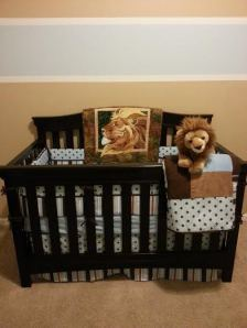 The crib, set up by my handsome hubby.
